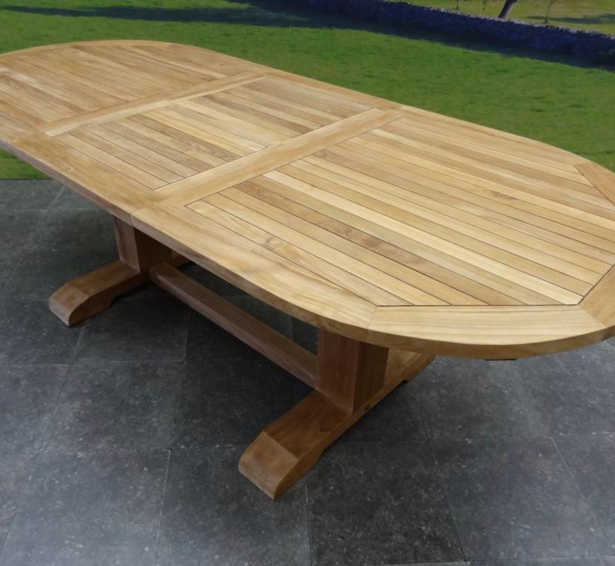 Ovaal uitschuifbare lounge-diningtafel 160-210x90xH70 cm teak bladdikte 4 cm