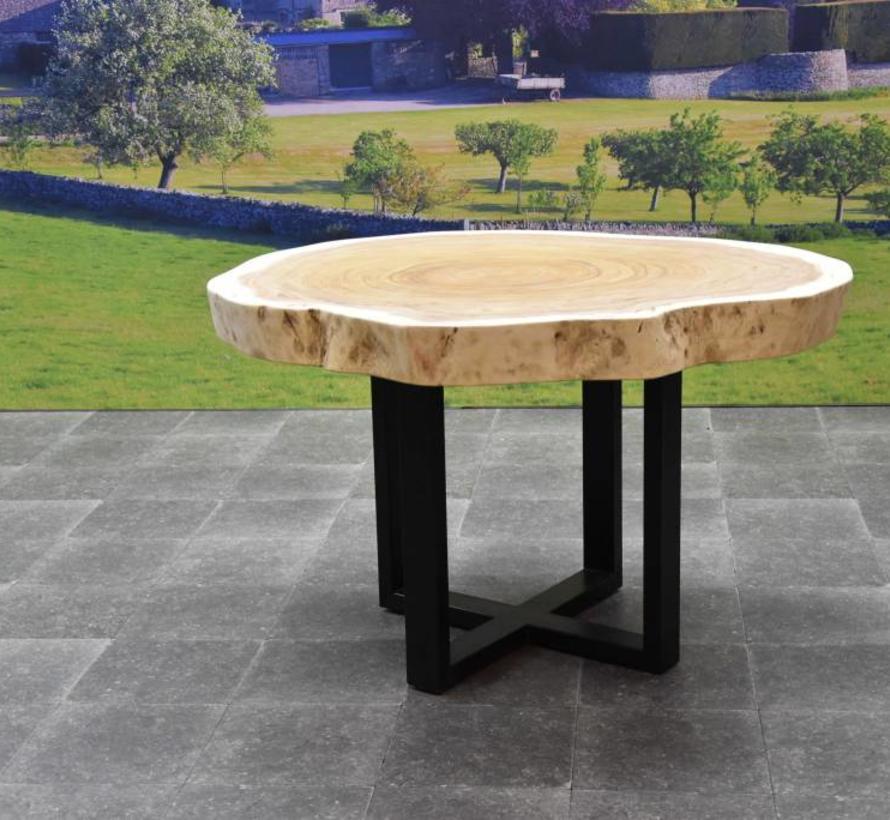 Boomstamtafel met metalen poten 120xH75 cm rond – bladdikte 10 cm