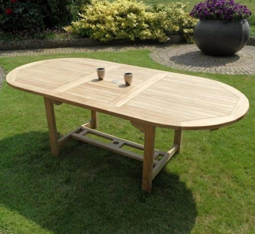 Ovaal uitschuifbare dining tuintafel 160-210x90xH76 cm teak bladdikte 2,8 cm