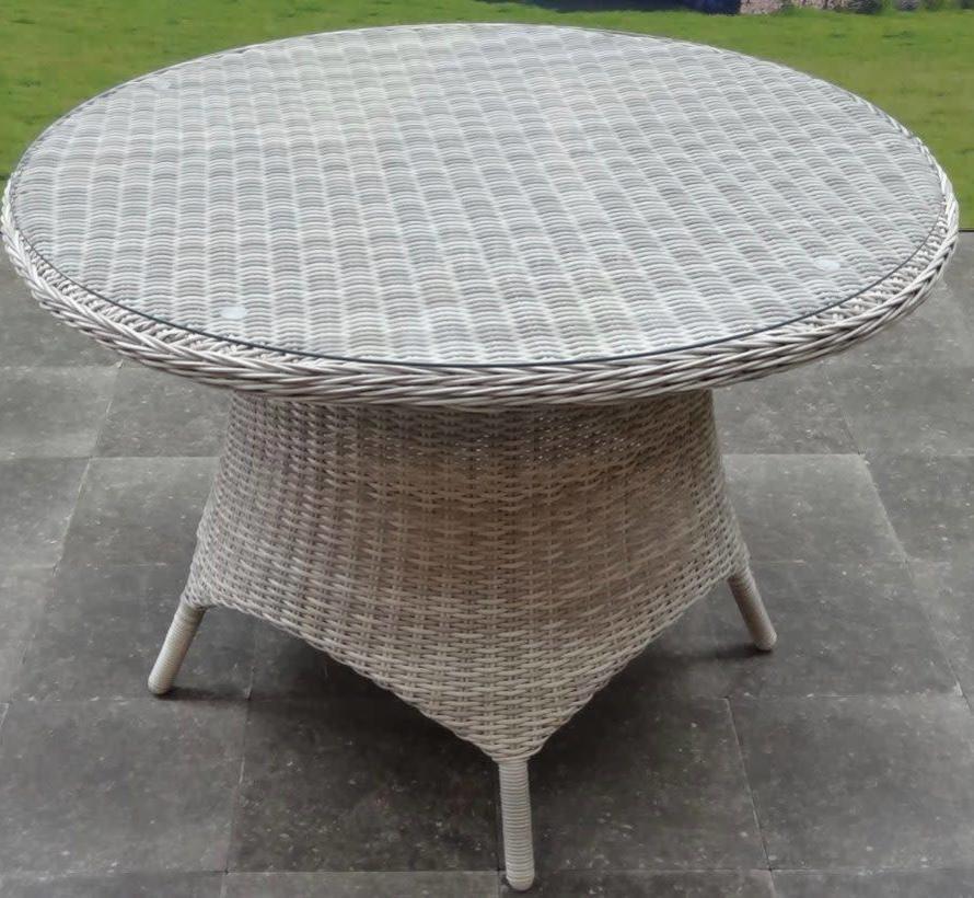 Riccione dining tuintafel 110 cm rond wit grijs