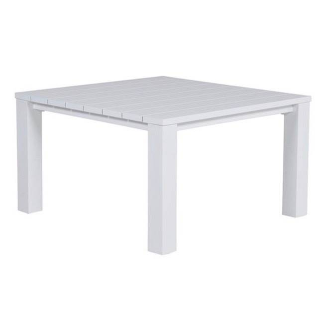 Cube lounge-diningtafel 115x115xH68 cm aluminium wit