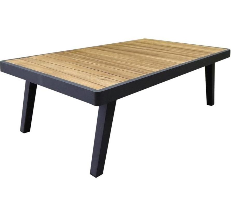 Emoti lounge tuintafel 120x70xH38 cm aluminium zwart teak