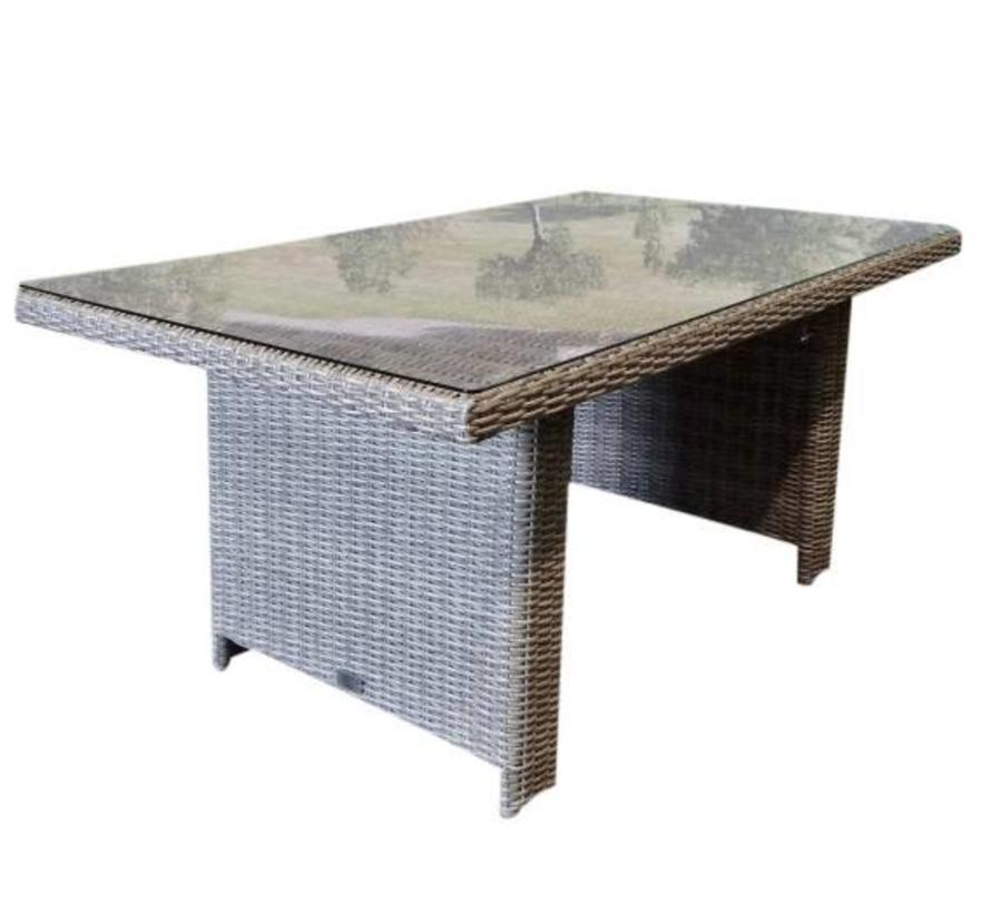 Ibiza lounge-dining tafel 140x80xH70 cm grijs