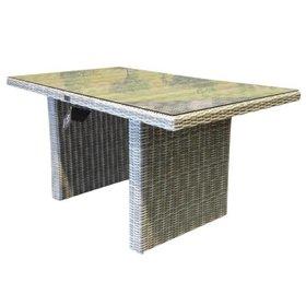 AVH-Collectie Ibiza lounge-dining tafel 140x80xH70 cm wit grijs