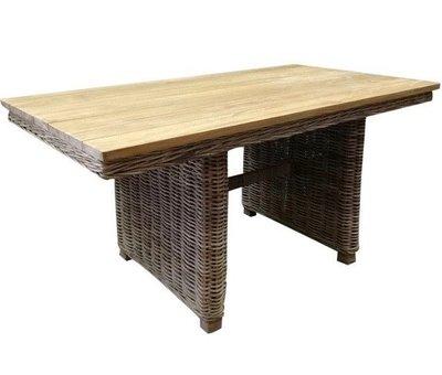 AVH-Collectie Ibiza lounge-dining tafel 146x82xH70 cm naturel  rotan teak