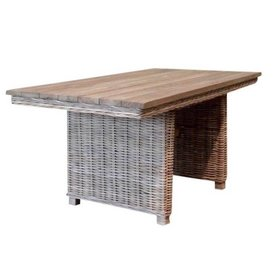 AVH-Collectie Ibiza lounge-dining tafel 146x82xH70 cm naturel rotan teak b keus