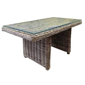 AVH-Collectie Ibiza lounge-dining tafel 146×82xH70 cm naturel rotan