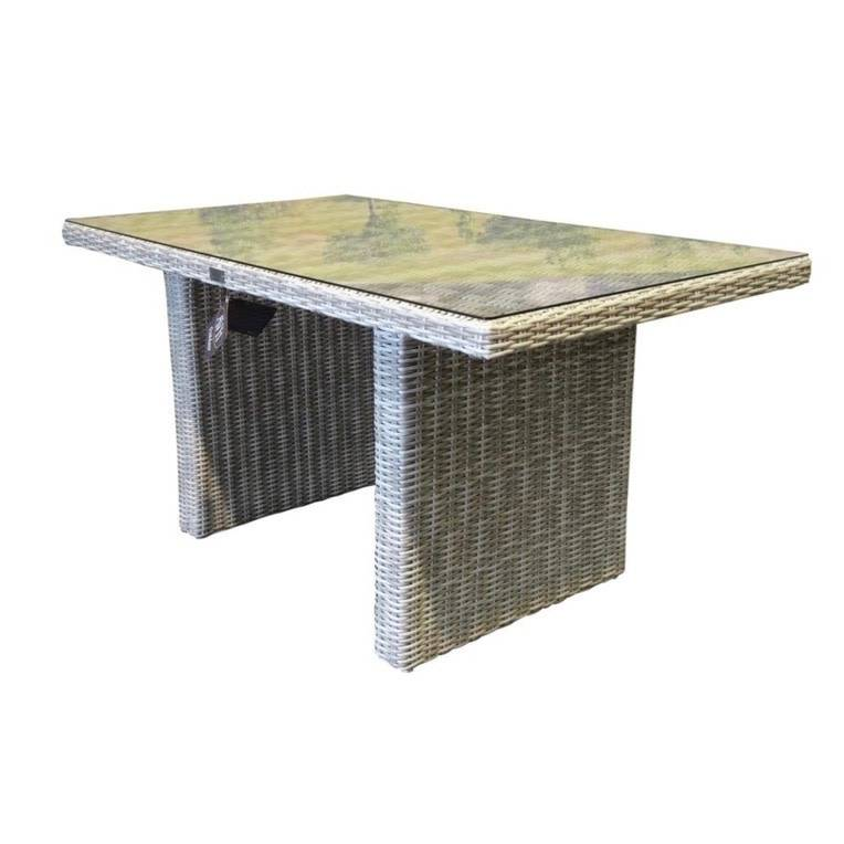 Ibiza lounge-dining tafel 120x80xH70 cm wit grijs