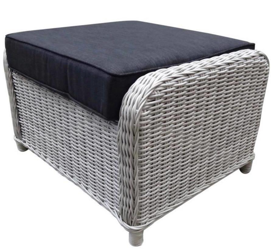 Ibiza XL voetenbank 63x55xH43 cm wit grijs