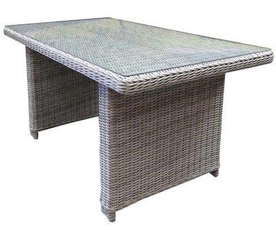 AVH-Collectie Ibiza XL lounge-diningtafel 140x80xH70 cm wit grijs