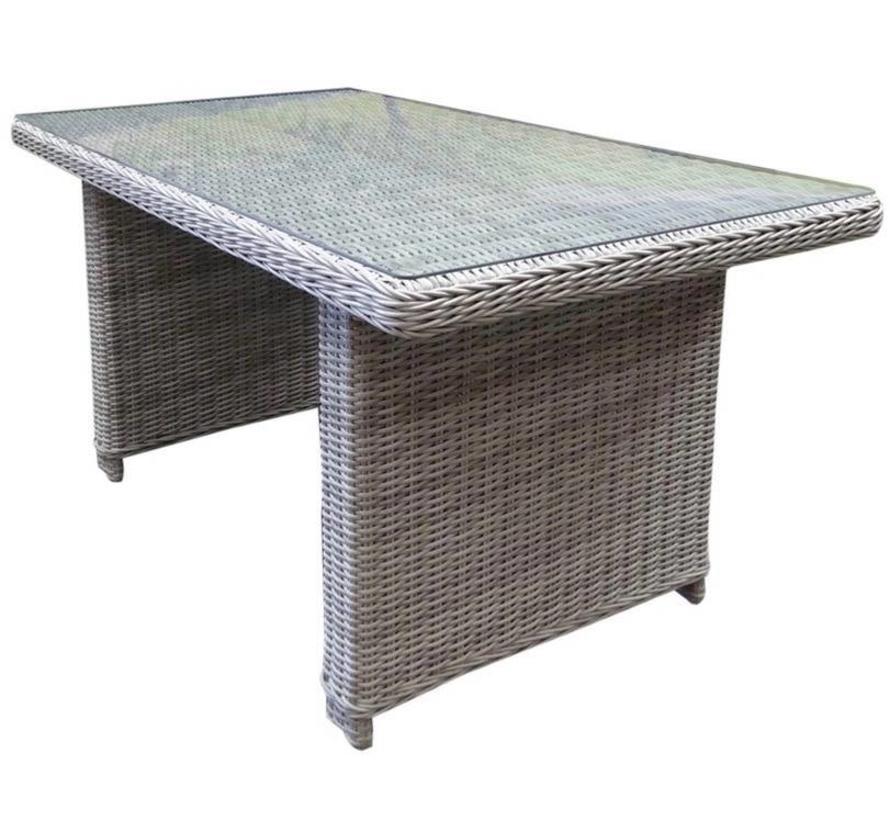 Ibiza XL lounge-diningtafel 140x80xH70 cm wit grijs
