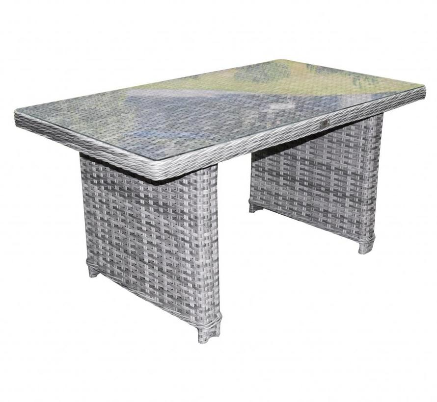 Kreta lounge-diningtafel 140x80xH70 cm grijs