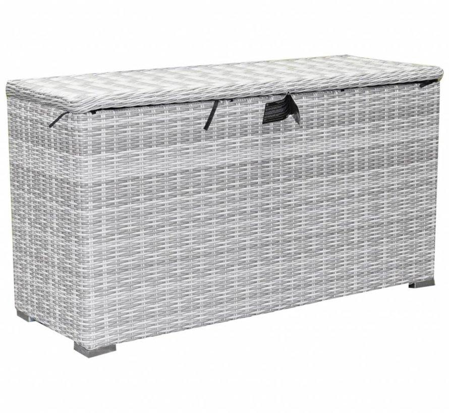 Kussenbox klein 126x47xH71 cm wit grijs
