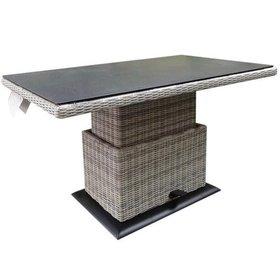 AVH-Collectie Miami lounge-diningtafel 130x75xH47-71 cm in hoogte verstelbaar wit grijs
