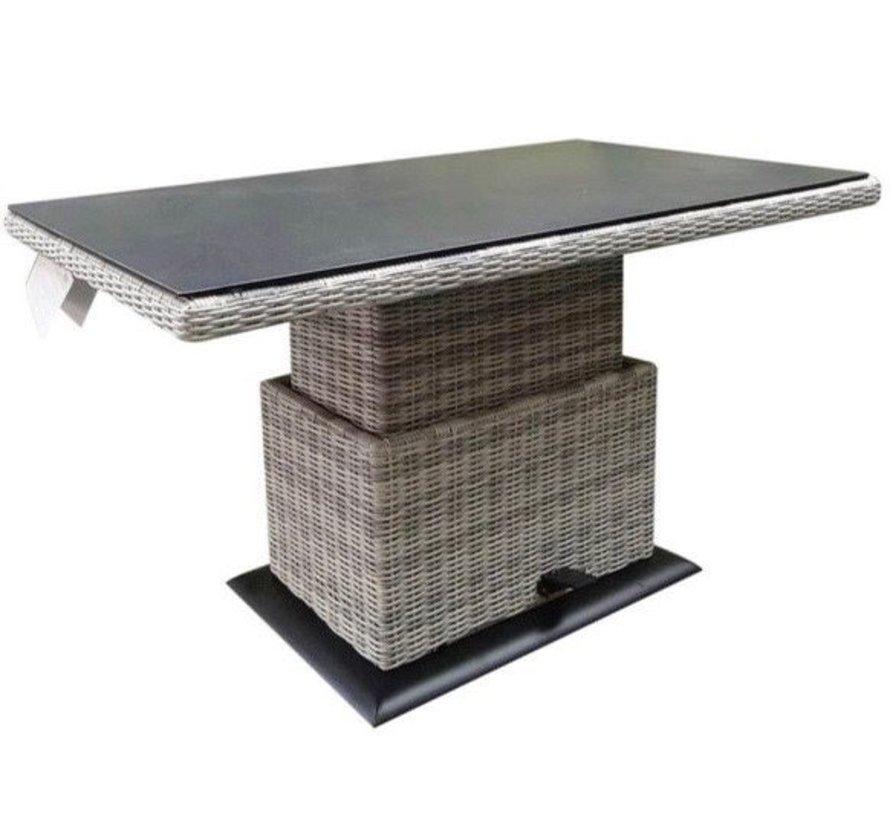 Miami lounge-diningtafel 140x85xH47-71 cm in hoogte verstelbaar wit grijs