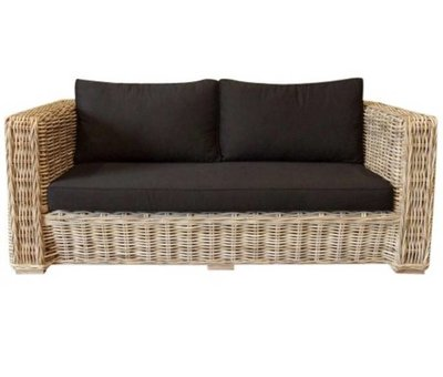 AVH-Collectie Nissah 2,5-zitsbank naturel rotan - suntech black