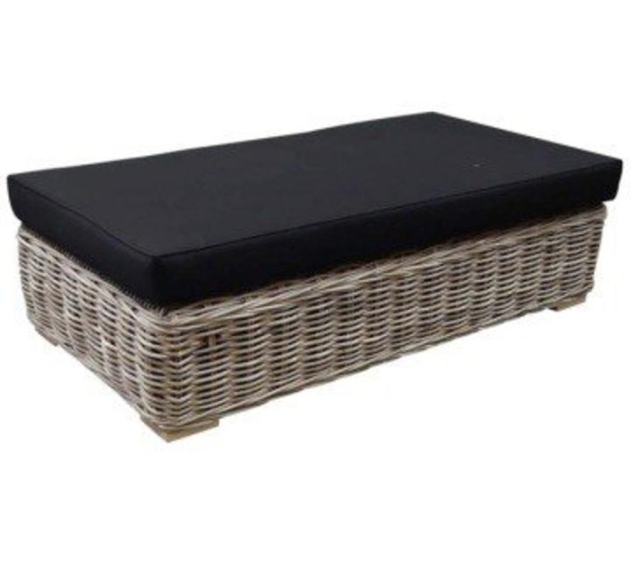 Nissah voetenbank 143x75xH43 cm naturel rotan - nagata black