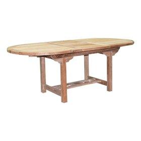 AVH-Collectie Ovaal uitschuifbare dining tuintafel 160-210x100xH76 cm teak bladdikte 4 cm