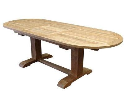 AVH-Collectie Ovaal uitschuifbare lounge-diningtafel 160-210x90xH70 cm teak bladdikte 4 cm