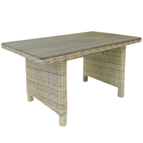 Dunham dining tuintafel 140x80xH70 cm wit grijs polywood