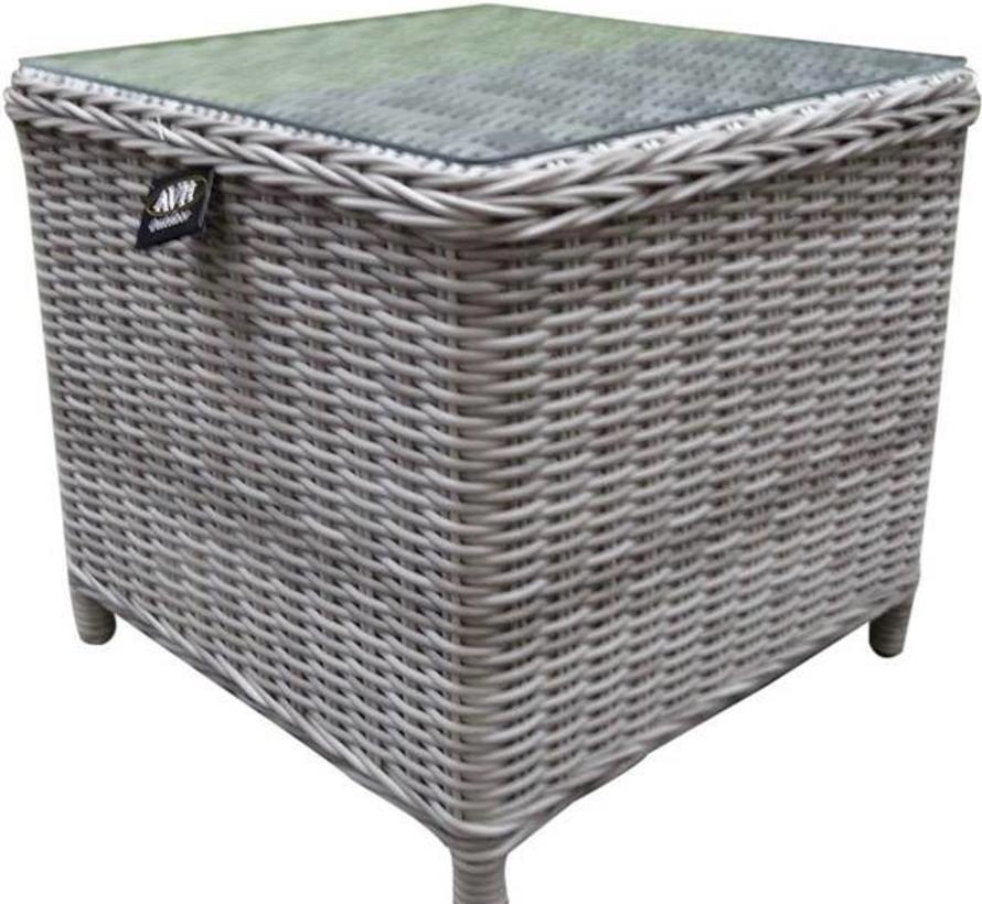 Toscane XL bijzettafel 50x50xH46 cm wit grijs