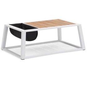 Higold York lounge tuintafel met opbergzak 110x75xH41 cm aluminium wit teak