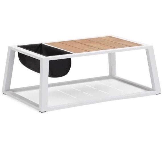 York lounge tuintafel met opbergzak 110x75xH41 cm aluminium wit teak