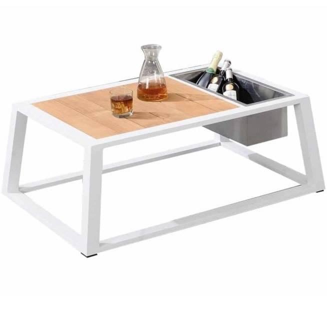 York lounge tuintafel met wijnkoeler 110x75xH41 cm aluminium wit teak