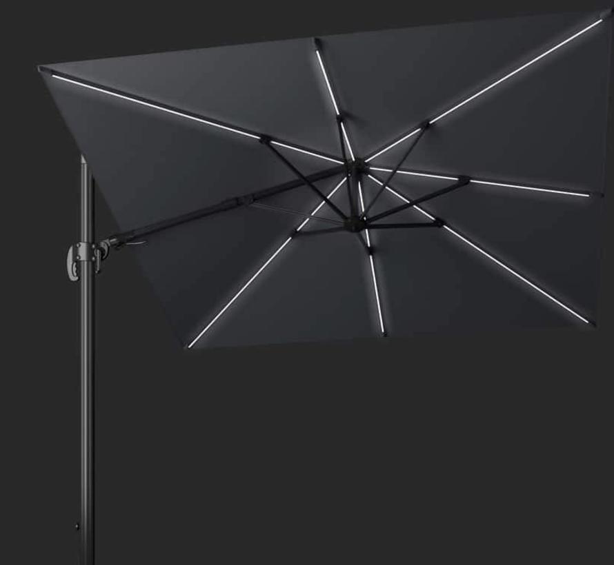 Challenger T2 glow zweefparasol 300x300 cm antraciet