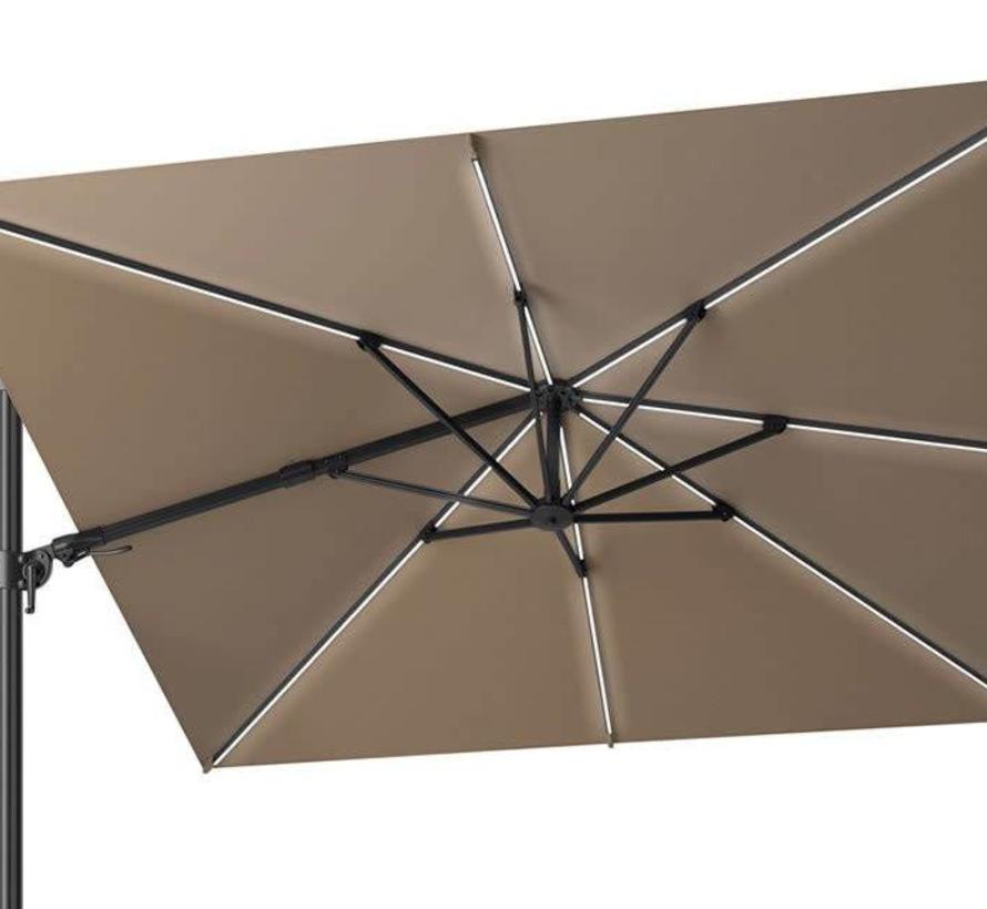 Challenger T2 glow zweefparasol 300x300 cm taupe