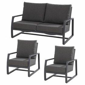 Taste 4SO Mauritius 2x loungestoelen en 1x loungebank Matt carbon Taste4SO