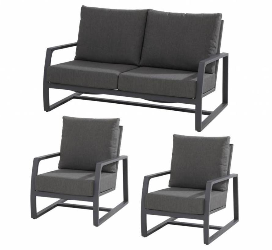 Mauritius 2x loungestoelen en 1x loungebank Matt carbon Taste4SO