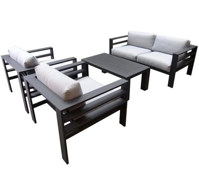 AVH-Collectie Almeria stoel-bank loungeset 4-delig aluminium zwart
