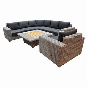 AVH-Collectie Ancona hoek loungeset 5-delig wit grijs
