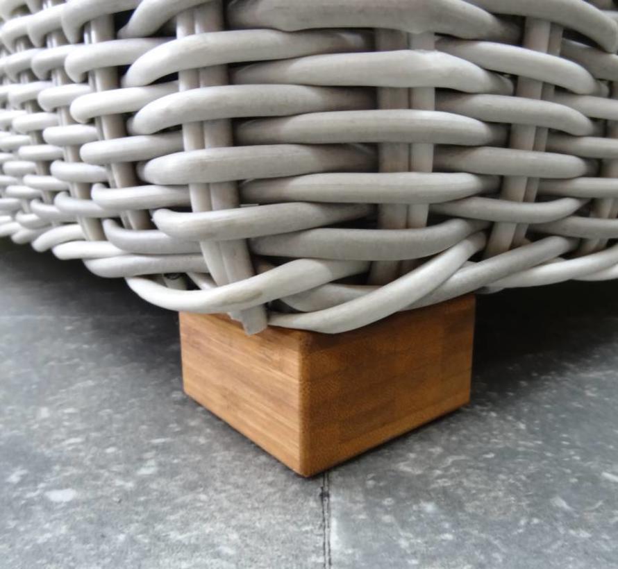 Ancona hoek loungeset 5-delig wit grijs