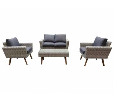 AVH-Collectie Andalucia stoel-bank loungeset 4-delig wit grijs