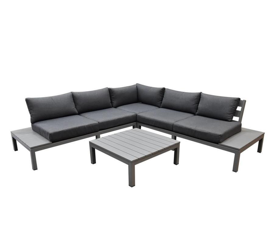 Annabella hoek loungeset 4-delig aluminium grijs