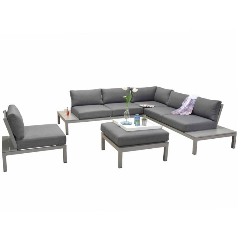 Annabella hoek loungeset 5-delig aluminium antraciet