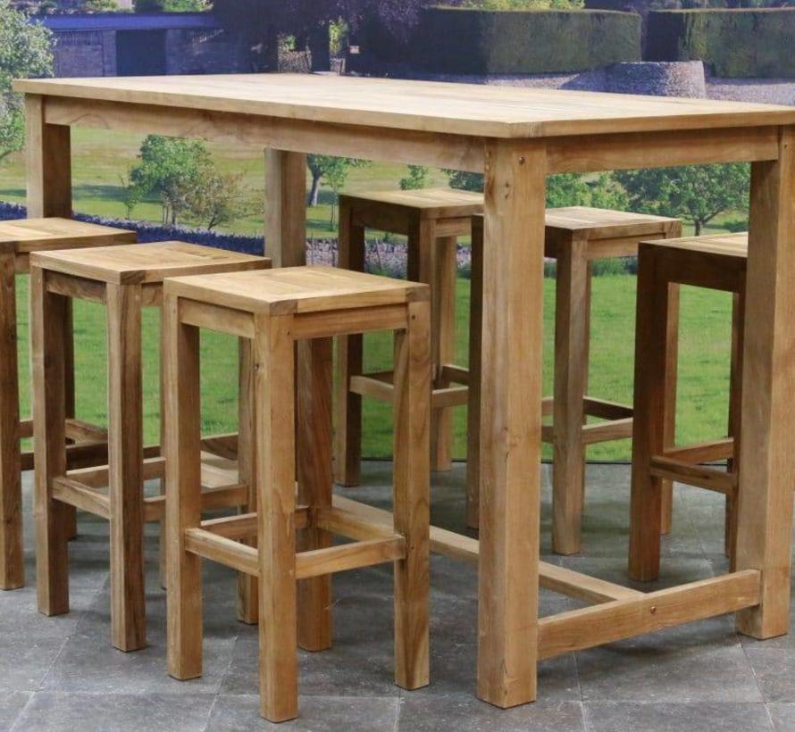 Barset Grade A teakhout 180x80xH105 cm 7-delig