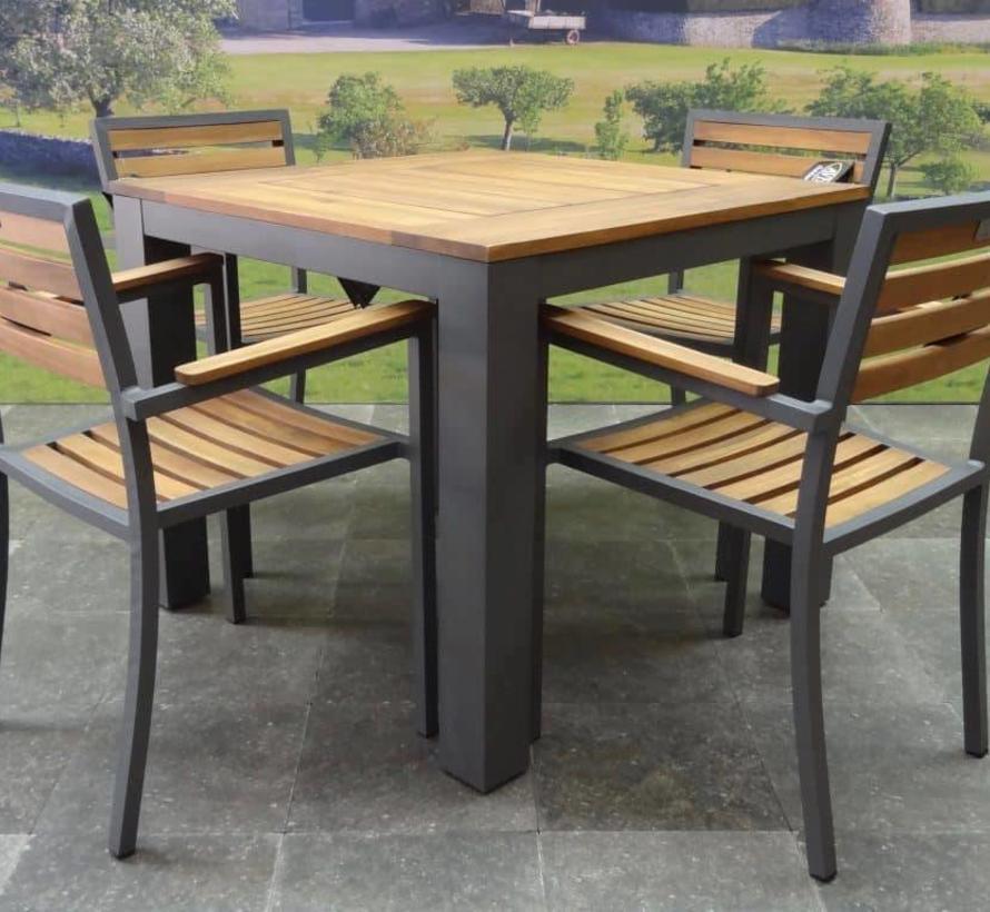 Beltra Carran dining tuinset 5-delig 90x90xH76 cm aluminium antraciet