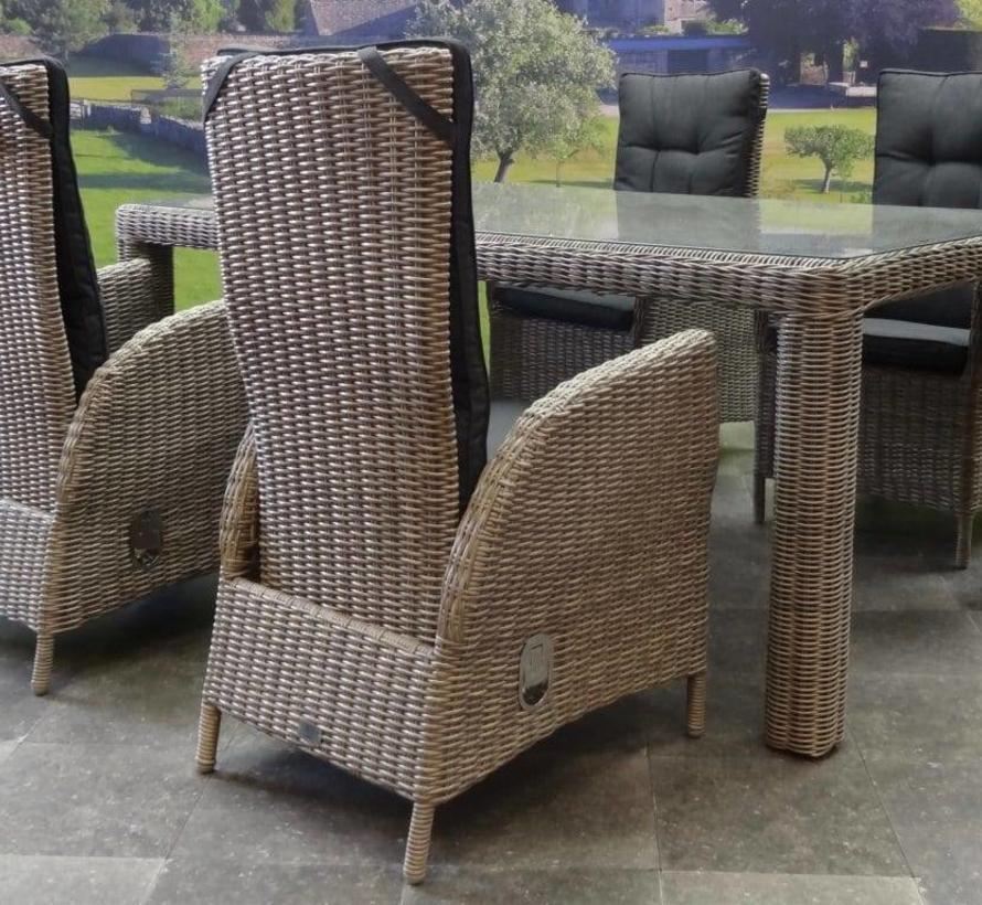Bergamo Menorca dining tuinset 180x100xH75 cm verstelbaar 5-delig grijs