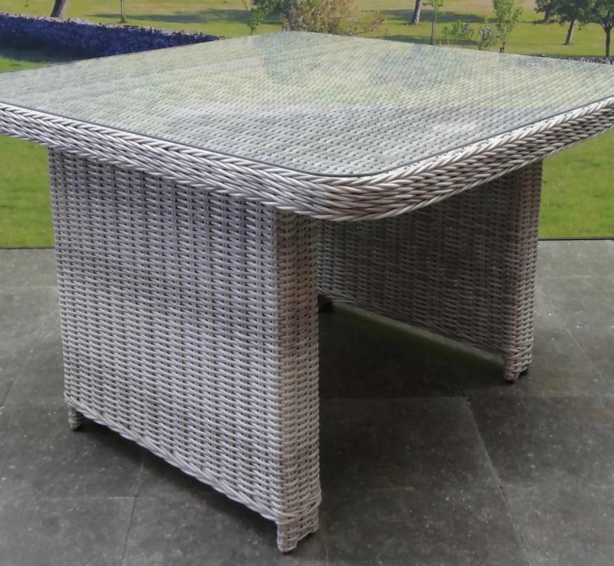 Bilbao XL hoek dining loungeset verstelbaar 7-delig wit grijs