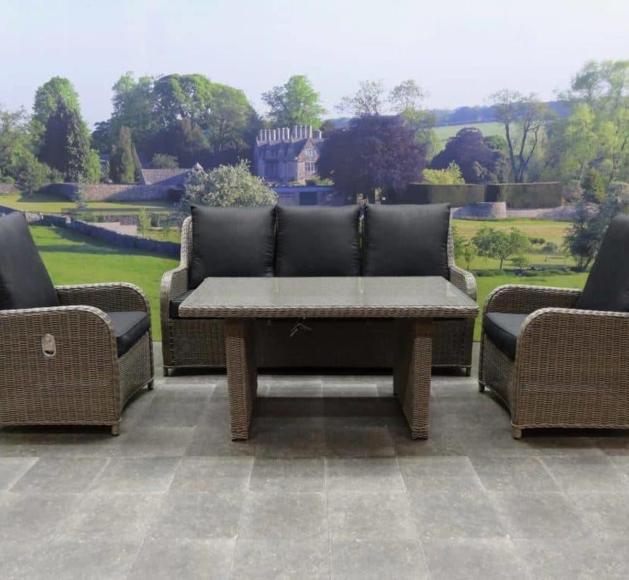 Bilbao stoel-bank dining loungeset verstelbaar 4-delig grijs