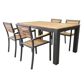 AVH-Collectie Beltra Carran dining tuinset 5-delig 160x90xH76 cm aluminium antraciet