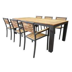 AVH-Collectie Beltra Carran dining tuinset 7-delig 220x100xH76 cm aluminium antraciet