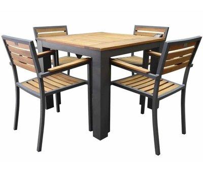 AVH-Collectie Beltra Carran dining tuinset 5-delig 90x90xH76 cm aluminium antraciet