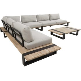 4 Seasons Outdoor Duke hoek loungeset 5-delig grijs teakhout