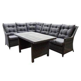 AVH-Collectie Dunham hoek dining loungeset 3-delig donker grijs vlechtwerk