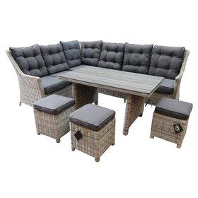 AVH-Collectie Dunham hoek dining loungeset 6-delig wit grijs vlechtwerk