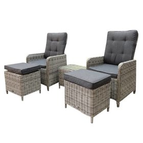 AVH-Collectie Empoli lounge balkon verstelbaar 5-delig wit-grijs